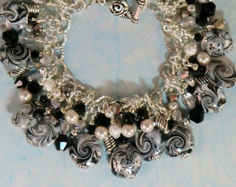 Silver black and white cha cha charm bracelet, polymer silver leaf swirl beaded dangle bracelet, boho charm bracelets, holiday jewelry, gift