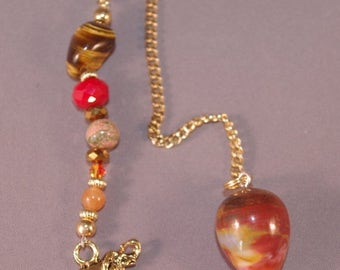 SPRING CLEARANCE Red Jasper and Lucky Elephant New Age Dowsing Pendulum 124815P