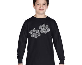 Boy's Long Sleeve T-shirt - Dog Paw Prints created out of the Word Woof Paw Prints