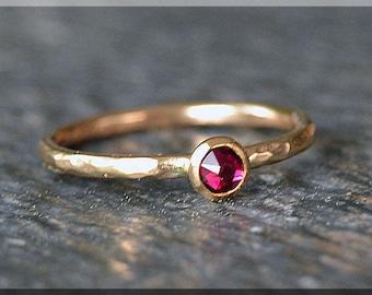 14k Gold Filled Swarovski Ruby Ring, July Birthstone Stacking Ring, Mini Swarovski Ruby Ring, RubyStacking Ring, Gold July Ring, Mother ring