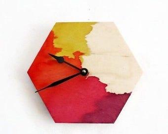 Hexagon Wall Clock, Water Color Wood Clock, Home and Living, Home Decor, Clocks, Unique Wall Clocks