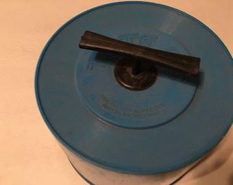 round blue 45 rpm record case tote 45