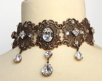 Crystal Gothic Choker Swarovski Choker Brass Victorian Gothic Choker Bridal Necklace Choker Gothic Wedding Jewelry