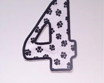 paw print number patch/ paw print birthday number badge
