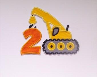 construction crane birthday number badge/ construction birthday number patch/ yellow crane badge