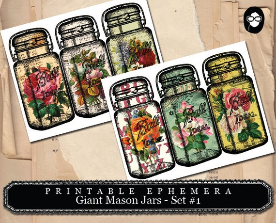 Mason Jar - Giant Mason Jars # 1 - 2 Page Instant Download - mason jar printable, vintage mason jar, digital collage, blank journal cards