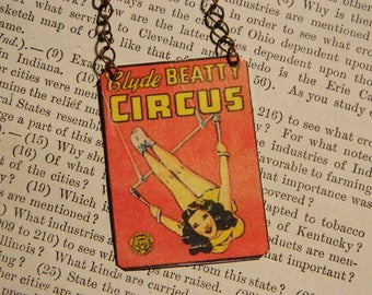 Circus necklace Circus Jewelry Acrobat Circus Poster mixed media jewelry