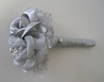 Grey Satin and Chiffon Boutonniere Groom Groomsmen Usher Father of the Bride Prom Homecoming Winter Formal With Rhinestone Accent..Custom