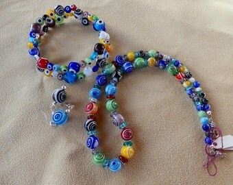SALE!   19 Inch Multi-Colored Glass Eye Ball  Bead Necklace with Wrap Bracelet and Earrings