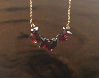 Raw Garnet Necklace Natural Untreated Crystal Necklace Raw Gemstone Necklace Natural Red Garnet Jewelry January Birthstone