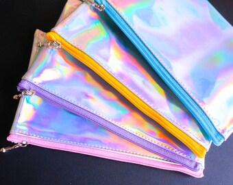 Holographic zipper bag, change purse , small zipper bag, silver holographic , handmade change purse, medium size makeup bag, holographic bag