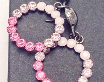 Pink Rhinestone Hoop Earrings 1960s Jewelry Vintage Jewelry, SUMMER SALE