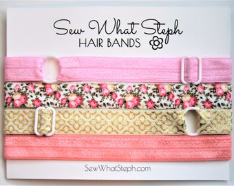 Easter Adjustable Elastic Headbands / Elastic Headbands / One Size Fits Most / 4-ct / Pink, Floral, Gold, Ivory / Little Girl / Baby / Adult