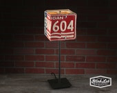 Michigan License Plate Table Lamp, Square, Man Cave, Garage, Repurposed, Upcycle, Automotive Lamp, Hand Crafted Light, 1976