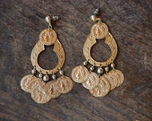 Vintage Pierced Earrings Faux Coin Large Chandelier Style Dangle Gold Tone Belly Dancing Boho 1980's // Vintage Costume Jewelry