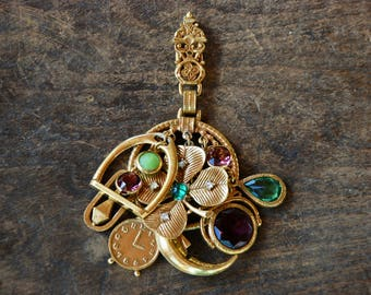 Vintage ART© Pendant Fob Clip Arthur Pepper Clover Clock Snake Moon Charms Green Purple Rhinestones // Vintage Designer Costume Jewelry