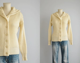 Reserved - Vintage 60s Wool Cardigan / 1960s Rib Wool Sweater with Hood / Hooded Sweater Jacket