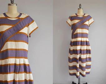 Vintage 80s Dress / 80s Stripe Linen Summer Drop Waist Dress / Cream Purple Stripe Midi Dress