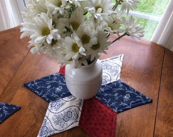 Red White & Blue Star Candle Mat - reversible -  Americana - Memorial Day - 4th of July - Spring and Summer table topper