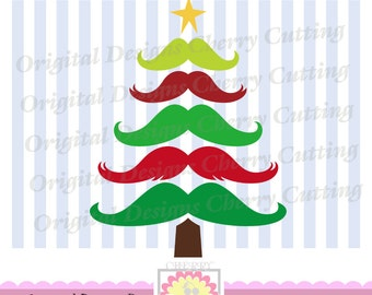 Christmas mustaches tree, Mustaches tree SVG,Christmas Silhouette Cut Files, Cricut Cut Files CHSVG05-Personal and Commercial Use