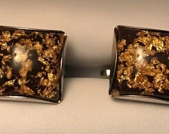 Stunning Vintage Hickok Gold Leaf Cufflink Set