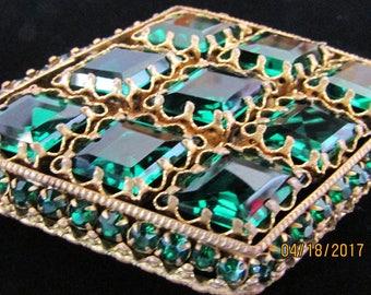 Circa 1930 Large Outstanding Emerald Green Rhinestone Brooch Diamond Shaped Platform Brooch Scalloped Setting Large Stones 3 Inches