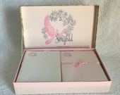 Vintage Stationery Set, Boxed Stationery, Pink and White Paper, Songbird Perfumed Stationery
