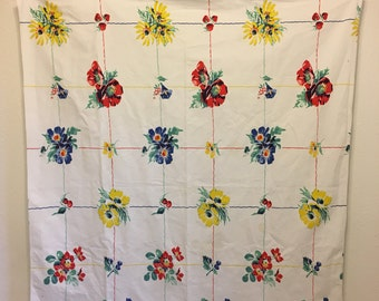 Vintage Tablecloth, white tablecloth, floral tablecloth,