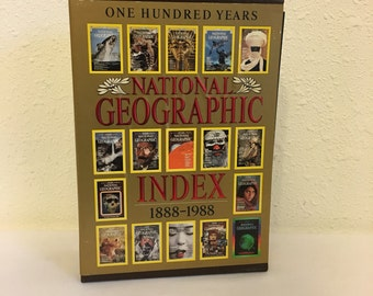 Vintage Book, National Geographic Index 1888-1988, Magazine Index, Map Index