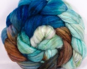 Batt in a Braid #5 -Hand dyed top for spinning -Sea Turtle - (4.8 oz.)