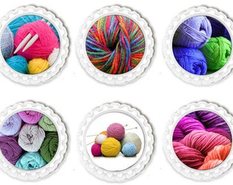 Knitting Fridge Magnets, Knit Locker Magnet, Office, Kitchen Accessories Set of Six