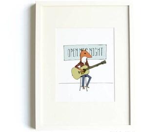 Open Mic Fox Print - Fox Art, Guitar Print, Illustrated Fox, Music Print, Music, Fox Illustration, Kids Room, Childrens Art Wall Decor