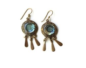 Vintage Boho Bronze Shell Dangle Earrings