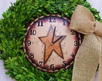 """Fall Wreath-Boxwood Wreath-Winter Wreath-Rustic Clocks-Boxwood Clock Wreath-Front Door Wreath-20"""" PRESERVED BOXWOOD CLOCK Door Wreath-Wreath"""
