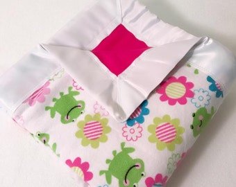 Frog & Flowers Double  Sided Flannel Blanket w/ Satin Binding