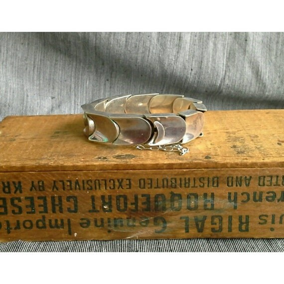 Vintage Pineda Style Heavy Mexican Sterling Silver Thumb Print Link Bracelet  1970s