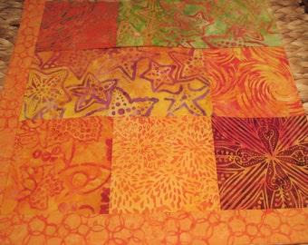 "14"" x 14"" x 14"" Cotton Batiks Pillow Cover - Tropical Starfish Nautical  Orange & Green Vibrant Colors"