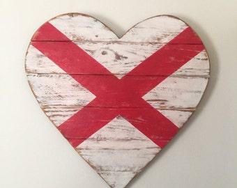Alabama Flag - Wood Heart - Wall Decor