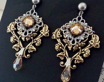 Victorian Gothic Earrings Swarovski Golden Shadow Post Earrings Victorian Gothic Jewelry