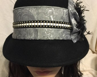 Black Wool Cloche with Leather Studded Trim and Silver Band