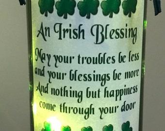 Lighted Bottle Irish Blessing