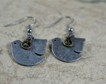 Silver Dove Peace Earrings