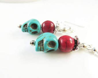 Red and turquoise skull earrings