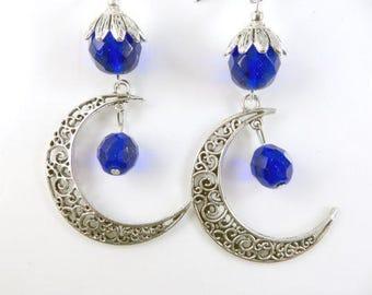 Large blue moon earrings