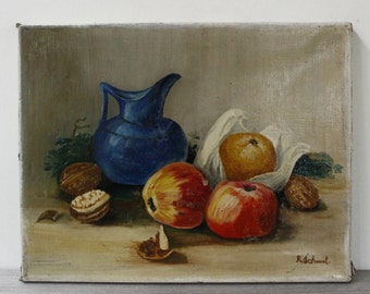"French Artwork, Oil on Canvas 14"" x 11""..signed piece....Still Life."