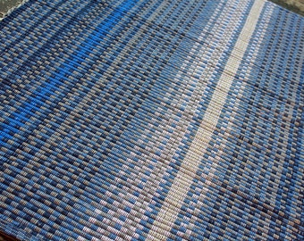 Handwoven dusky blue cotton rug