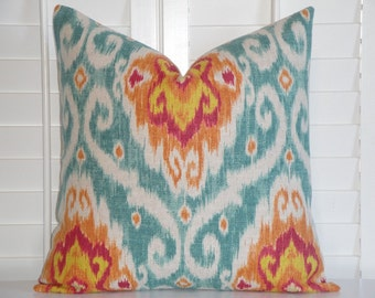 Decorative Pillow Cover - IKAT - Turquoise / Orange / Fuchsia / Yellow / Throw Pillow / Accent Pillow / sofa Pillow