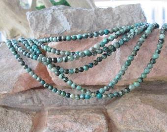 "4 mm Tiny Round Gemstone Beads African Turquoise Jasper 7.5"" Strand Blue Green"