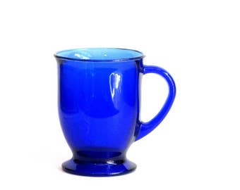 Cobalt Blue Coffee or Tea Mug Anchor Hocking Glass Pedestal Cup Hot Toddy