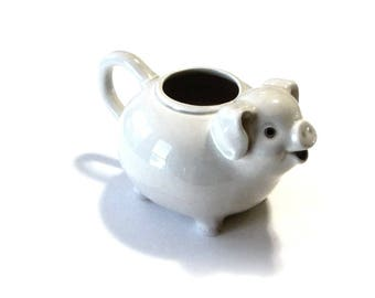 Vintage Fitz & Floyd White Pig Creamer Ceramic Milk or Syrup Pitcher Topless Teapot Smiling Piggy
